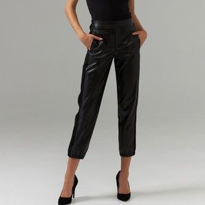 Black Pleather Front Cropped Jogger Pants size 2